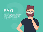 Young man standing near big question symbol and he needs to ask help or advice via live chat, help desk or faq.