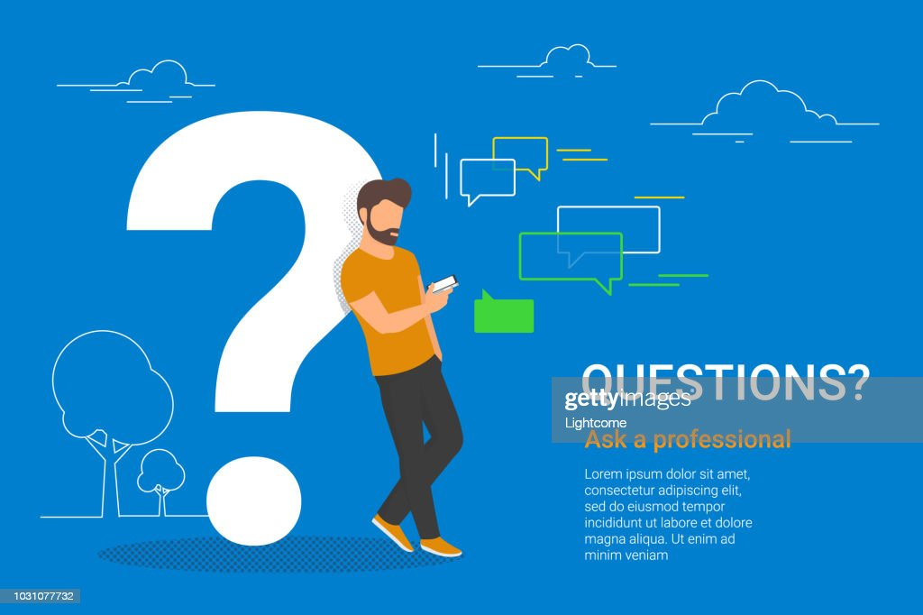 Young man standing near big question symbol and texting to live chat using smartphone
