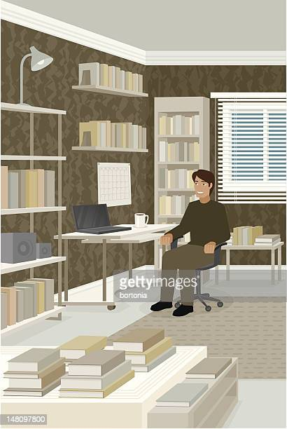 Young Man Studying at Desk in Room Full of Books