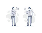 Young man thinking and deciding flat outline illustrations