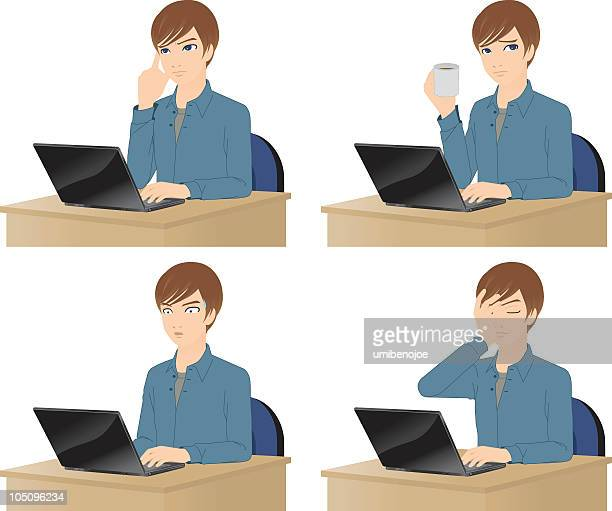 Young Man using laptop computer.  He has trouble.