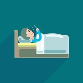 Young man using texting on smartphone in bed, Vector icon illustration.