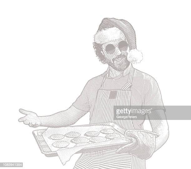 ilustrações, clipart, desenhos animados e ícones de jovem vestindo chapéu de papai noel a fazer bolachas - intoxicação por cannabis