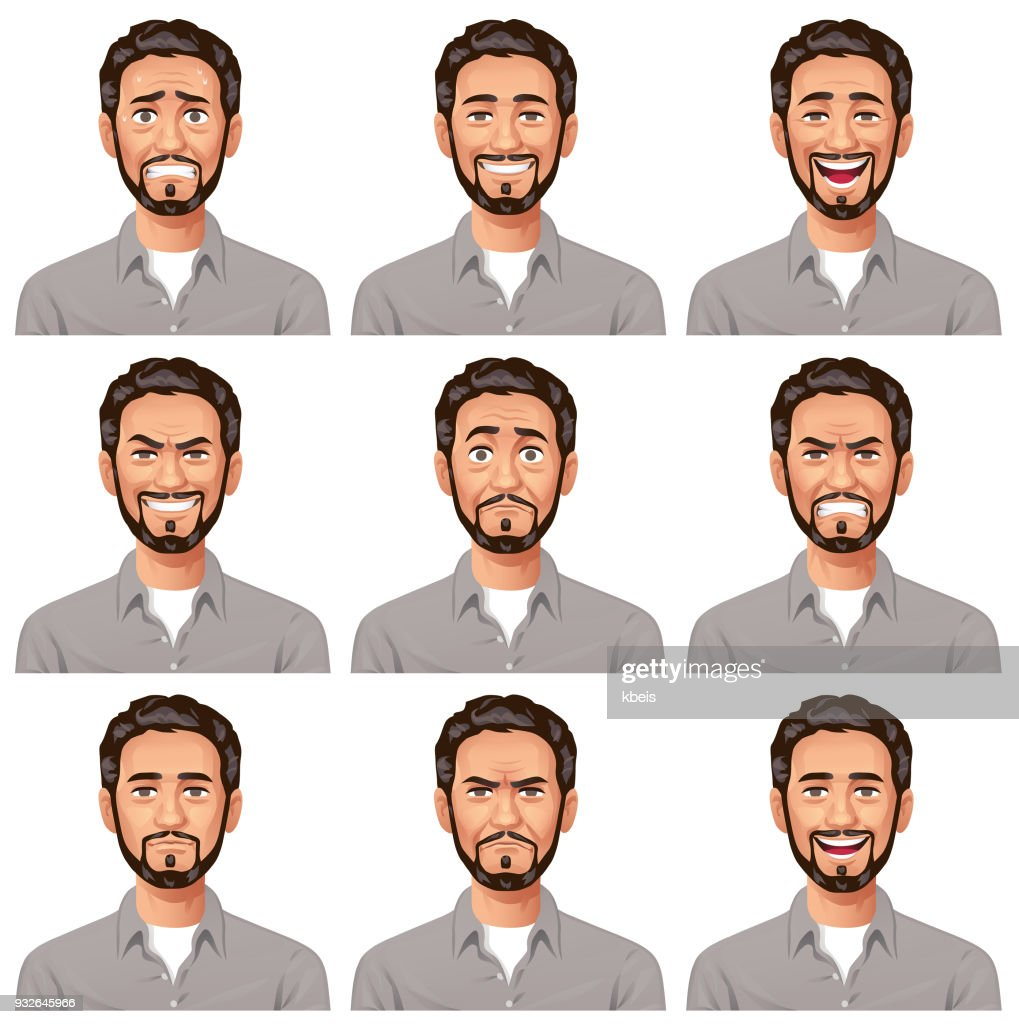 Young Man With Beard- Facial Expressions : stock illustration
