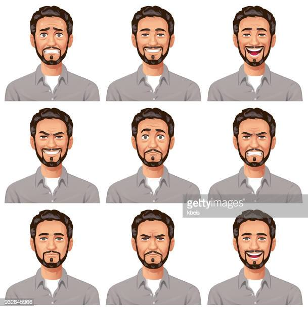 young man with beard- facial expressions - beard stock illustrations