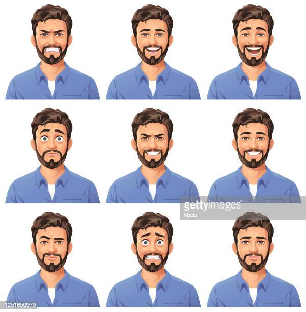 young man with beard portrait- emotions - adult stock illustrations