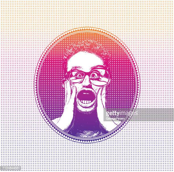 Young man with shocked facial expression inside Halftone oval frame