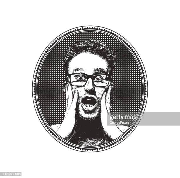 young man with shocked facial expression inside halftone oval frame - horn rimmed glasses stock illustrations, clip art, cartoons, & icons