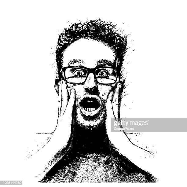 young man with shocked facial expression - close up stock illustrations