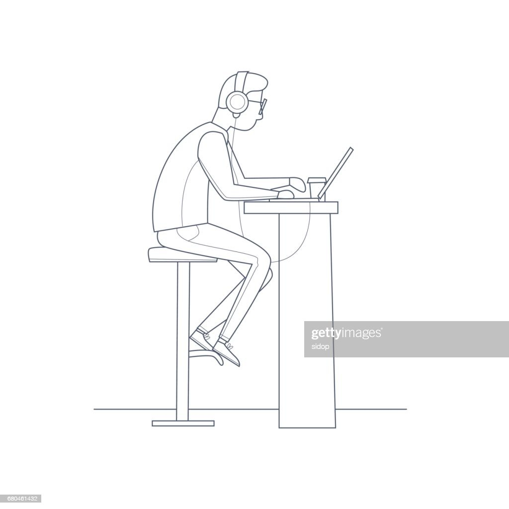 Young man working on the computer with headphones, business. Thin line. Flat vector illustration in cartoon style.