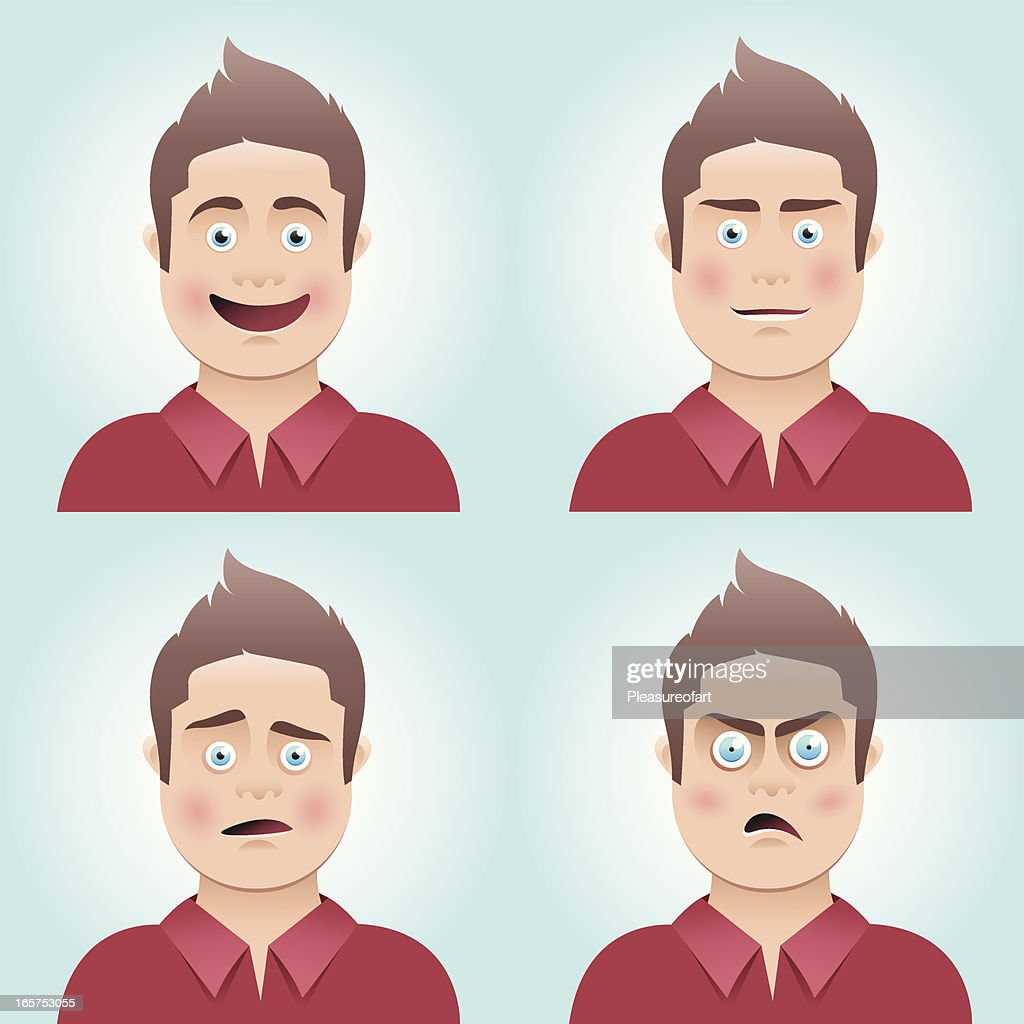 Young man's facial expressions