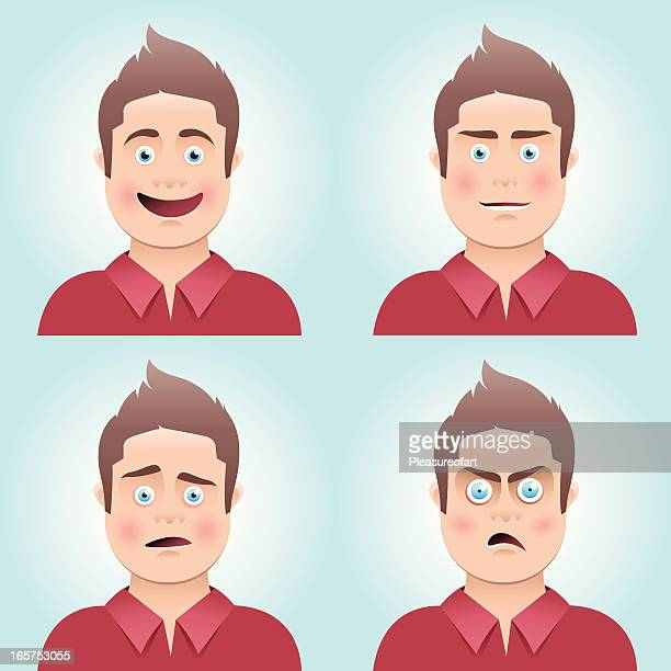 young man's facial expressions - disappointment stock illustrations
