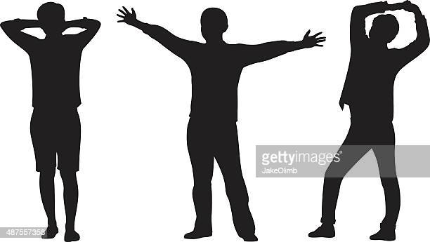 Young Men Stretching Arms Silhouettes