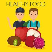 young men with fruits healthy food