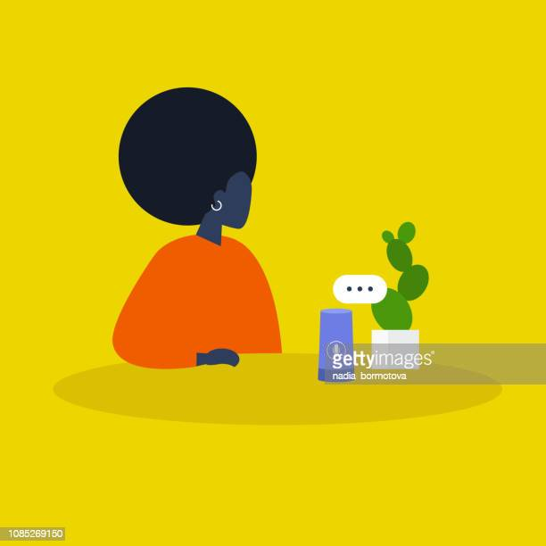 Young millennial black female character using a smart speaker. New technologies. Modern lifestyle. Trends. Flat editable vector illustration, clip art