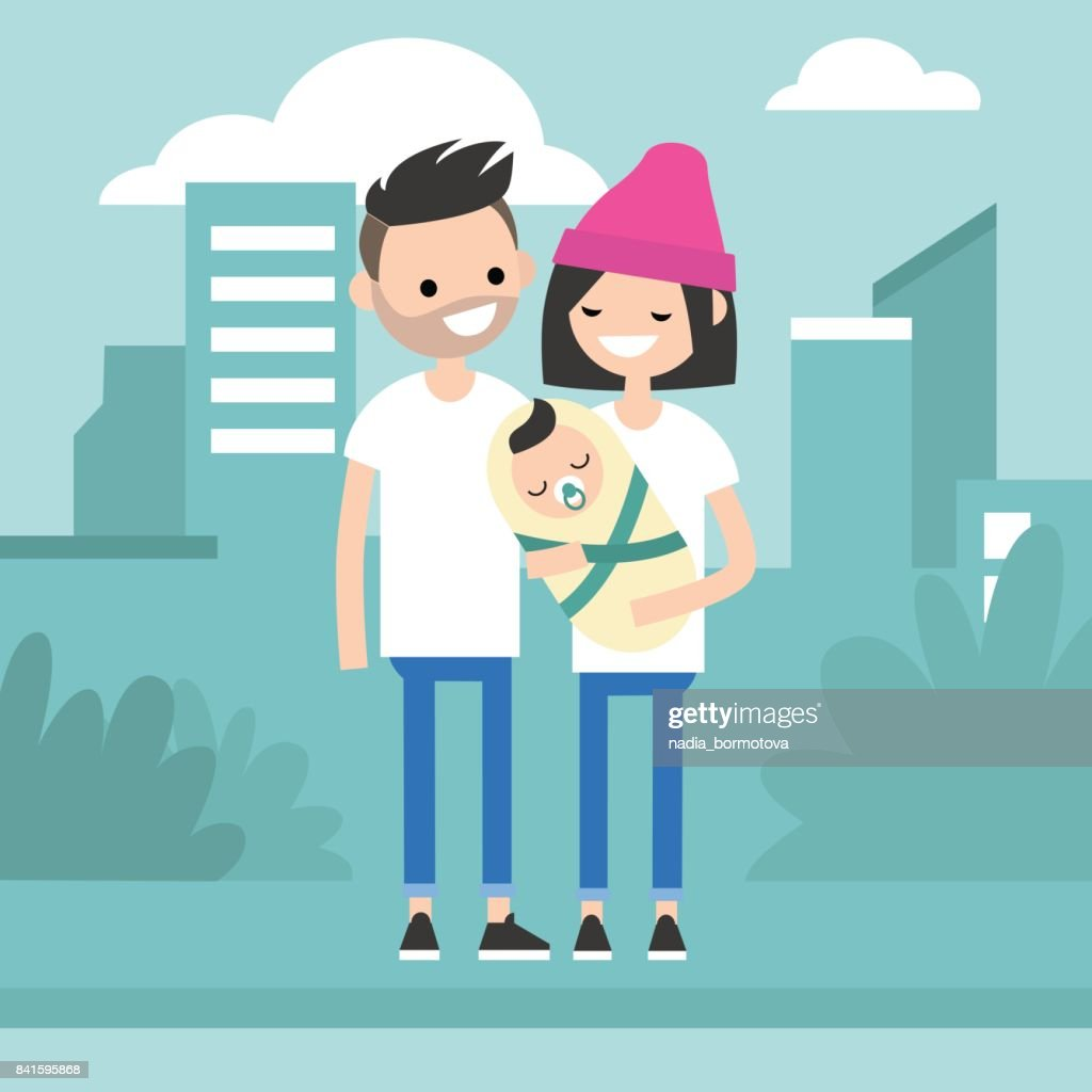 Young modern family concept. Mother, father and their baby walking around the city / flat editable vector illustration, clip art