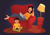 Young mother is working at home, cartoon illustration