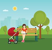 Young mother relaxing on bench . Vector flat illustration