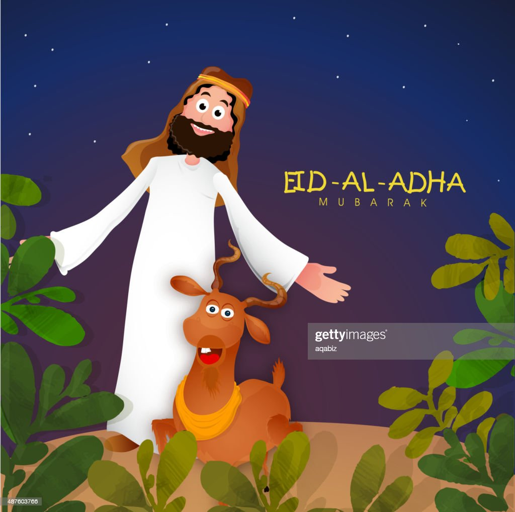 Young Muslim man celebrating Eid-Al-Adha festival.