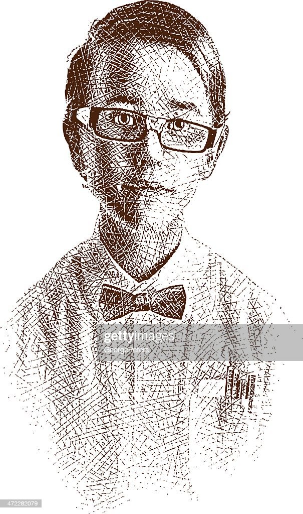 Young Nerd Etching : stock illustration