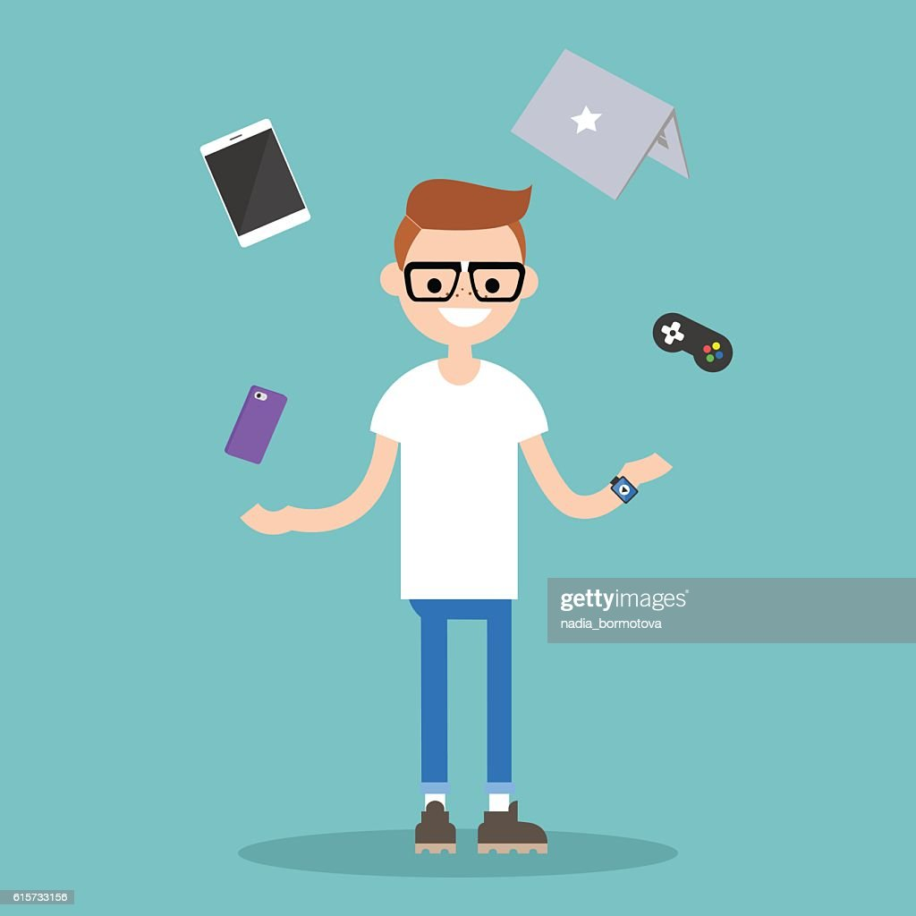Young nerd juggling electronic devices