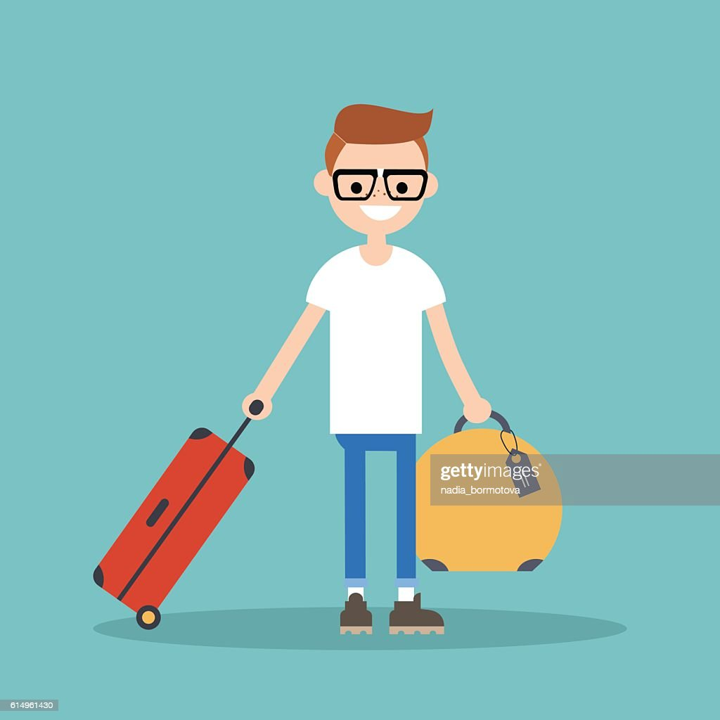 Young nerd travelling with his luggage