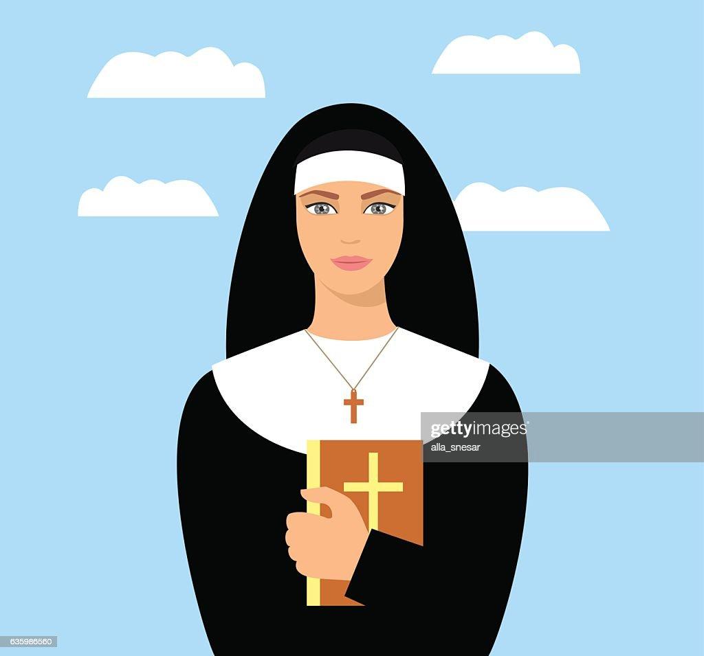 young nun with a Bible in hand. Cartoon nun