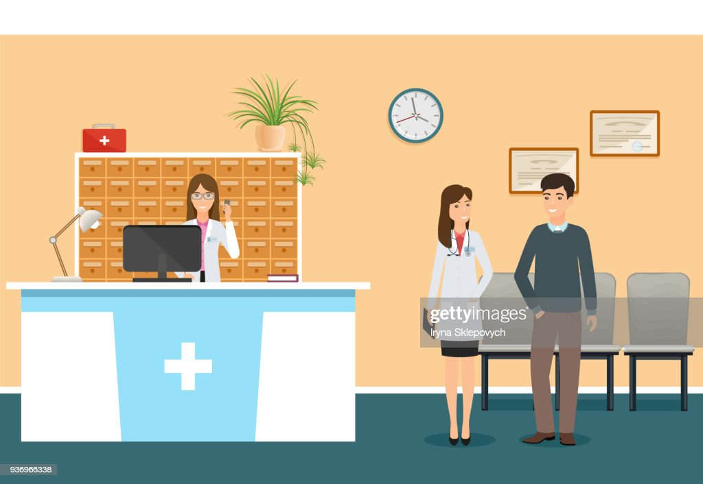 Young nurse at hospital reception desk in clinic and woman doctor in uniform standing with patient. Scene from hospital