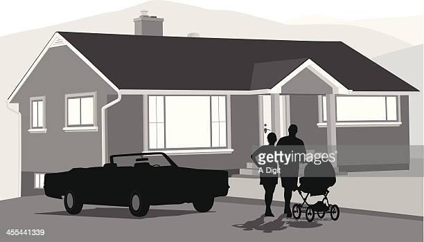 young parents - domestic car stock illustrations, clip art, cartoons, & icons