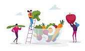 Young People Characters Put Huge Vegetables, Berries and Fruits into Glass Bowl. Healthy Vegan Food Choice, Vitamins in Products, Organic Greenery, Fruits and Vegetables. Cartoon Vector Illustration
