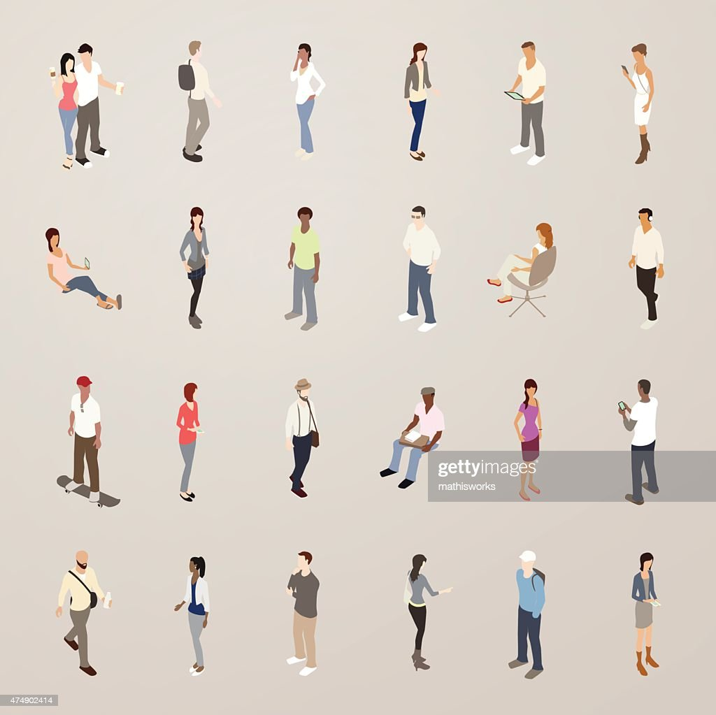 Young People - Flat Icons Illustration : Vector Art