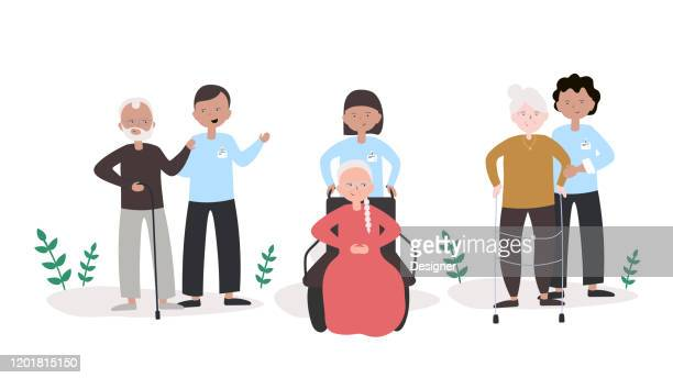 young people help to elderly people concept vector illustration. flat modern design for web page, banner, presentation etc. - aging process stock illustrations