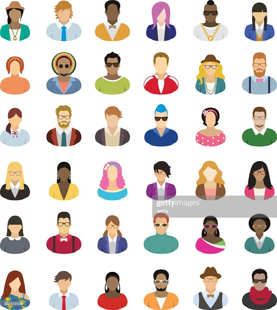 Young people – icon set