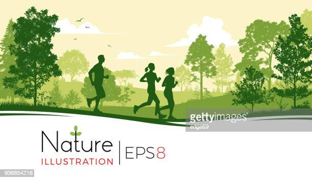 young people running in the park - tree stock illustrations