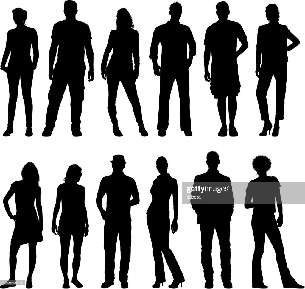 Young People Silhouettes : stock illustration