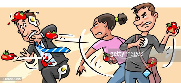 young people throwing tomatoes at man in suit - political rally stock illustrations, clip art, cartoons, & icons