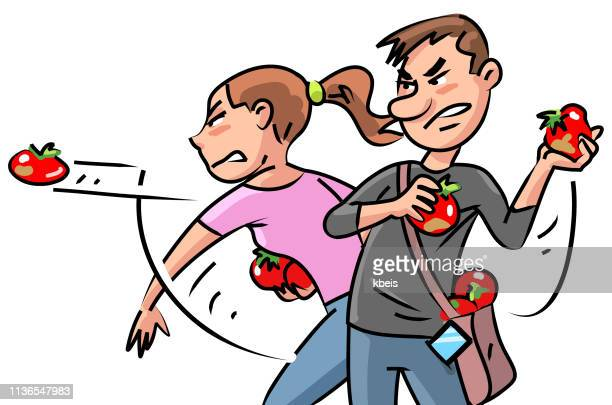 young people throwing tomatoes - rotting stock illustrations, clip art, cartoons, & icons