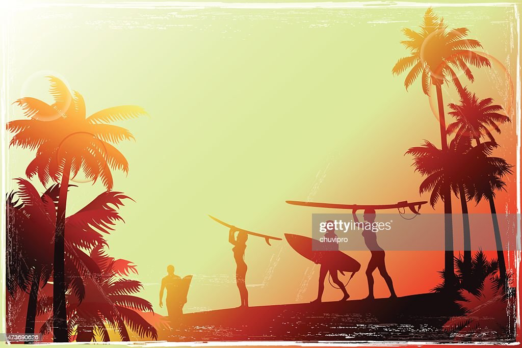 Young people walking along the beach with a palm trees