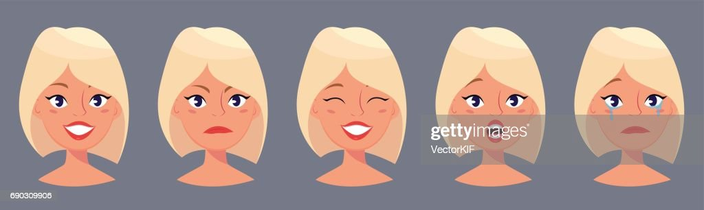 Young pretty blond woman, cute faces with different emotions. Cartoon beautiful girl. Avatar business woman. Vector illustration.