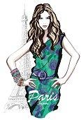 Young pretty fashion model in Paris