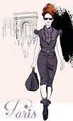 Young pretty fashion near Arc de Triomphe
