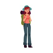 Young pretty girl travelling, hitch hiking with backpack