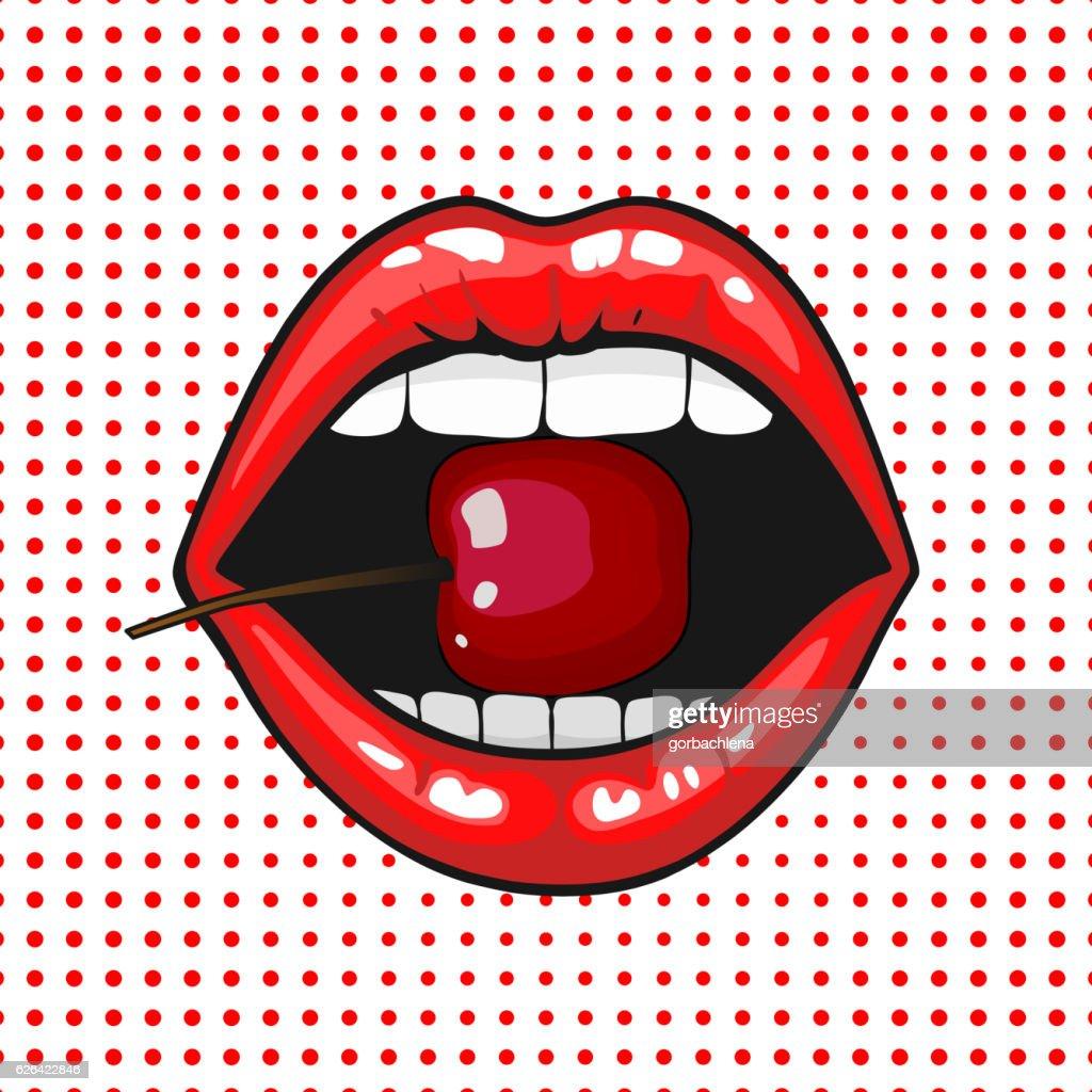Young pretty woman lips portrait biting cherry. Pop art