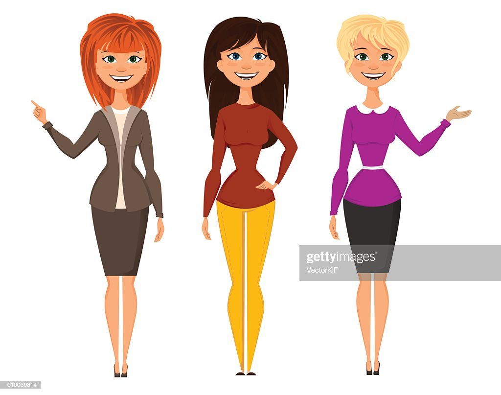 Young pretty women in smart office clothes. Vector EPS10