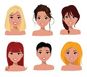 Young pretty women, pretty faces with different hairstyles.