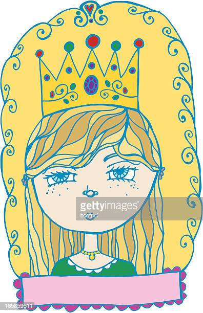 young princess - medieval queen crown stock illustrations