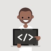 Young programmer pointing on the closing bracket tag on a laptop screen / flat editable vector illustration, clip art