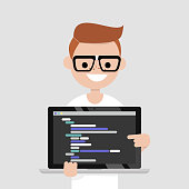 Young programmer pointing on the laptop screen. Programming code. Technology / flat editable vector illustration, clip art