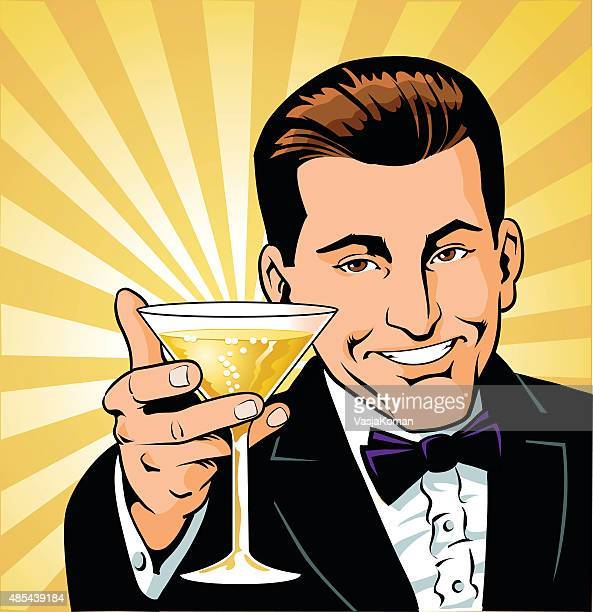 Young Retro hombre brindis con champán