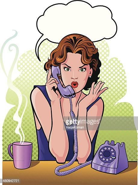 若い女性にレトロなスタイルの携帯電話で話している